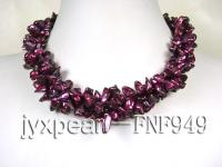 Three-strand 5.5mm Purple Baroque Freshwater Pearl Necklace FNF949