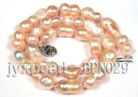 Unique 10×14.5-10×16.5mm Multi-color Baroque Freshwater Pearl Necklace BPN029