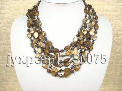 Six-strand 10x14mm Natural Shell Necklace  SN075 Image 1