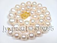 Huge Size 11.5-14.5mm White Semi-Round Pearl Necklace RPN095