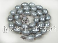 Huge 10×12.5-11×14.5mm Gray Oval Freshwater Pearl Necklace EPN052