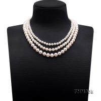 High Quality 6-10mm Three-Strand White Round Pearl Necklace FNM305