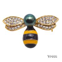 Luxurious Pearl Brooch Series---10mm Peacock Green Tahitian Pearl Bee Pendant TP008