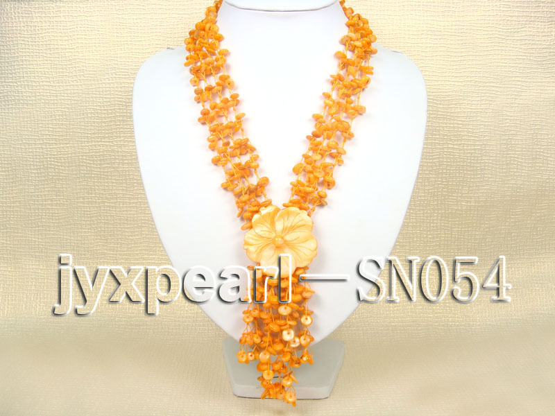 Delicate Four-strand 7.5-8mm Natural Shell Necklace  big Image 1