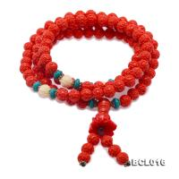 Buddhism Jewelry---Beautiful 7mm Carved Orange Coral Prayer Beads/Bracelet BCL016