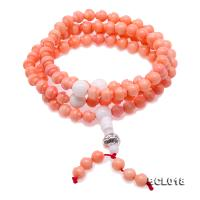 Buddhism Jewelry---Beautiful 6.5mm Pink Coral Prayer Beads/Bracelet BCL018