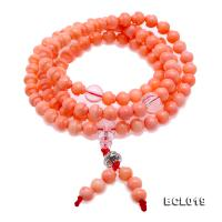 Buddhism Jewelry---Beautiful 6.5mm Pink Coral Prayer Beads/Bracelet BCL019