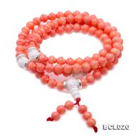 Buddhism Jewelry---Beautiful 6-6.5mm Pink Coral Prayer Beads/Bracelet BCL020