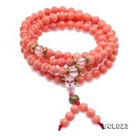 Buddhism Jewelry---Beautiful 7mm Pink Coral Prayer Beads/Bracelet BCL023