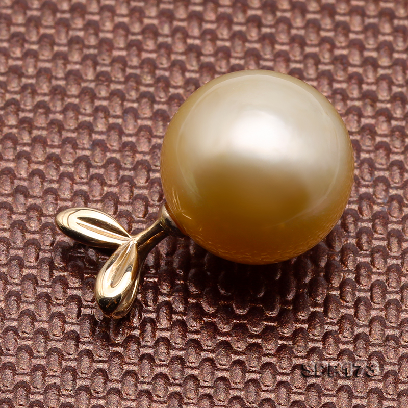 South Sea Loose Pearl  Golden Color 11.5-14 mm Size Near Round Shape