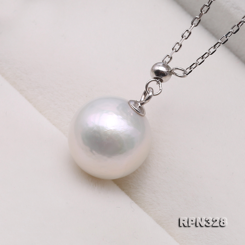 Elegant 12mm Perfectly Round White Edison Pearl Pendant with 925 Sterling Silver Chain big Image 3
