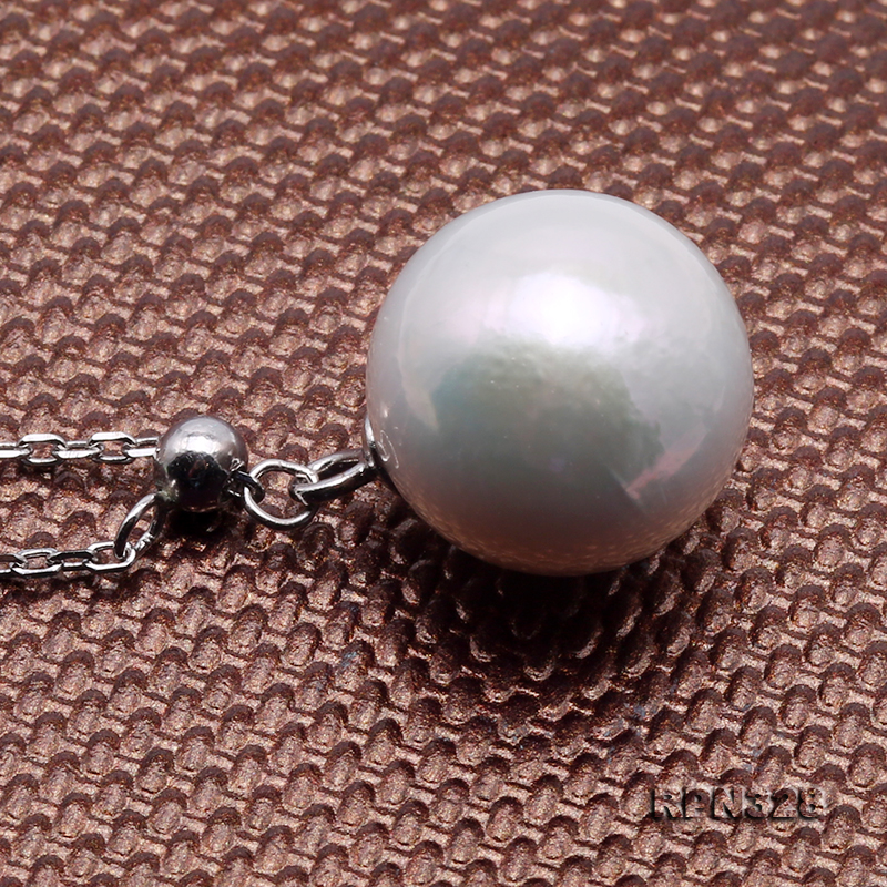 Elegant 12mm Perfectly Round White Edison Pearl Pendant with 925 Sterling Silver Chain big Image 4