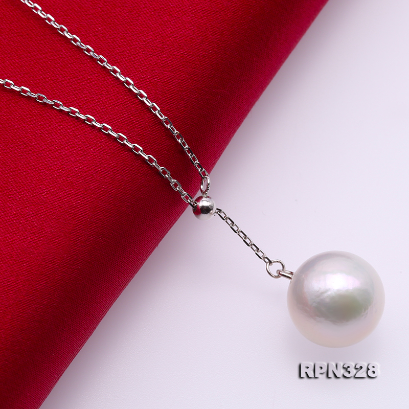 Elegant 12mm Perfectly Round White Edison Pearl Pendant with 925 Sterling Silver Chain big Image 5