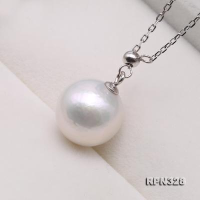 Elegant 12mm Perfectly Round White Edison Pearl Pendant with 925 Sterling Silver Chain RPN328 Image 3