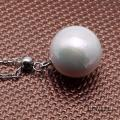 Elegant 12mm Perfectly Round White Edison Pearl Pendant with 925 Sterling Silver Chain RPN328 Image 4