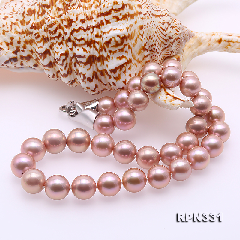 Goreous Big 11-13mm Lavender Round Edison Pearl Necklace big Image 8