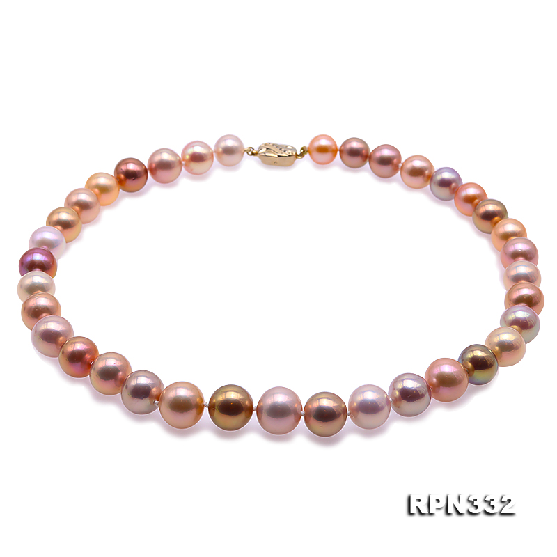 Goreous Big 11-13mm Multicolor Round Edison Pearl Necklace big Image 1