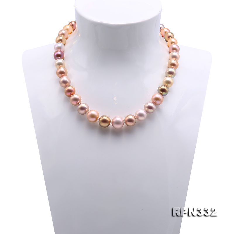 Goreous Big 11-13mm Multicolor Round Edison Pearl Necklace big Image 2