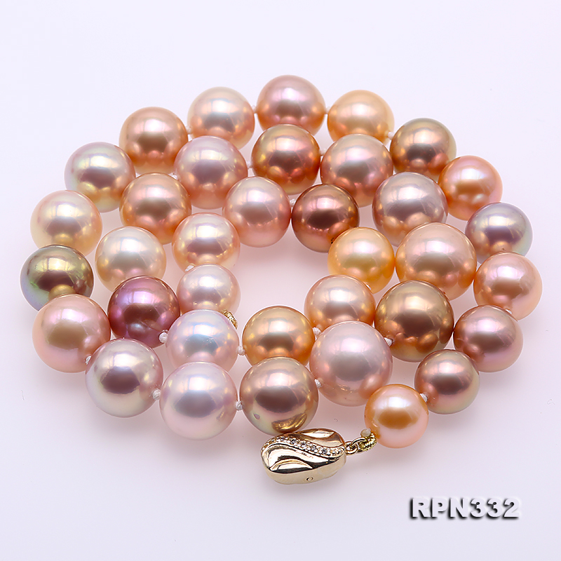 Goreous Big 11-13mm Multicolor Round Edison Pearl Necklace big Image 3