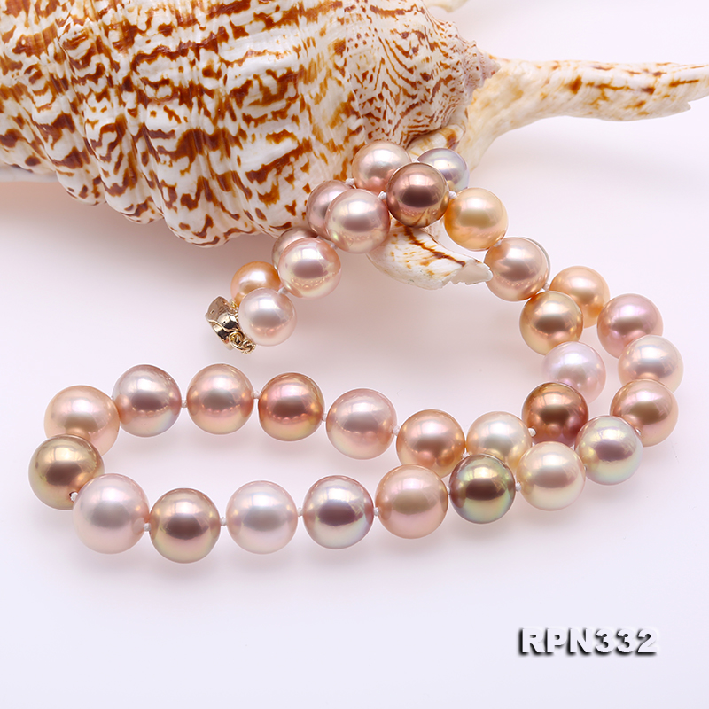 Goreous Big 11-13mm Multicolor Round Edison Pearl Necklace big Image 8