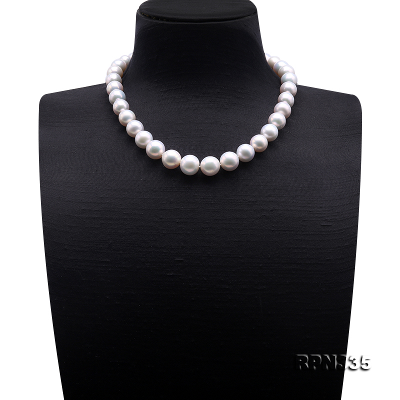 Goreous Big 11-13mm White Round Edison Pearl Necklace big Image 2