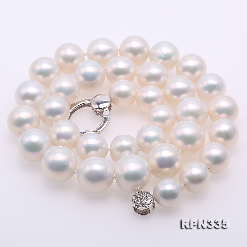 Goreous Big 11-13mm White Round Edison Pearl Necklace big Image 3