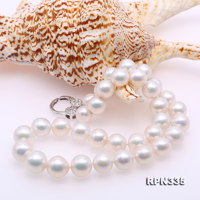 Goreous Big 11-13mm White Round Edison Pearl Necklace big Image 5