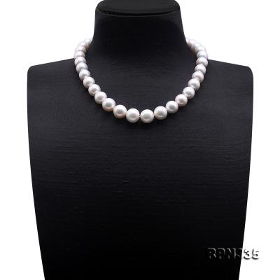 Goreous Big 11-13mm White Round Edison Pearl Necklace RPN335 Image 2