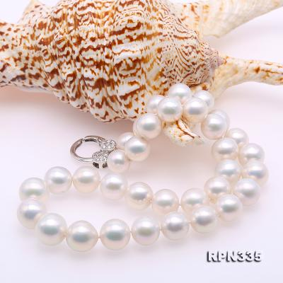 Goreous Big 11-13mm White Round Edison Pearl Necklace RPN335 Image 5