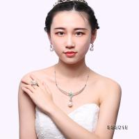 Fine 18K Gold 14.5-16.5mm White South Sea Cultured Pearl Necklace Earring and Ring Jewelry Set SSS019