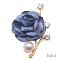 Lovely Rose-shaped 11.5mm White Pearl Brooch FB765