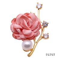 Lovely Rose-shaped 11.5mm White Pearl Brooch FB767