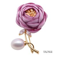 Lovely Rose-shaped 12mm White Pearl Brooch FB769