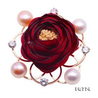 Fine Fabric Red Rose-shaped 10-10.5mm Pink Pearl Brooch FB774