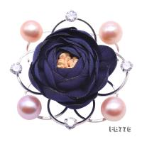 Fine Fabric Blue Rose-shaped 10-10.5mm Pink Pearl Brooch FB775