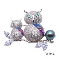 Luxurious Pearl Brooch Series---10mm Peacock Green Tahitian Pearl Owl-style Pendant TP015