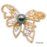 Luxurious Pearl Brooch Series---10mm Peacock-green Tahitian Pearl Butterfly Brooch  TP018