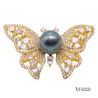Luxurious Pearl Brooch Series---11.5mm Peacock Green Tahitian Pearl Butterfly-style Brooch TP020