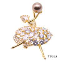 Luxurious Pearl Brooch Series---11mm Tahitian Cultured Pearl Dancer-style Brooch  TP021