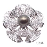 Luxurious Pearl Brooch Series---11mm Black Tahitian Cultured Pearl Brooch  TP022