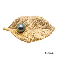 Luxurious Pearl Brooch Series---10mm Peacock-green Tahitian Pearl Leaf Brooch  TP023