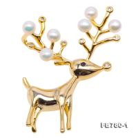 Cute Deer-style 4.5-5mm White Freshwater Pearl Brooch-Golden Tone FB780-1