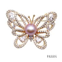 Gorgeous 10mm Lavender Pearl Butterfly Brooch  FB804