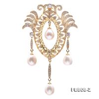 Vintage Style 9.5x11.5mm White Pearl Brooch/Pendant FB808-2