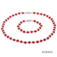 Delicate 7mm Carved Red Coral and White Pearl Necklace Bracelet Set CJS004