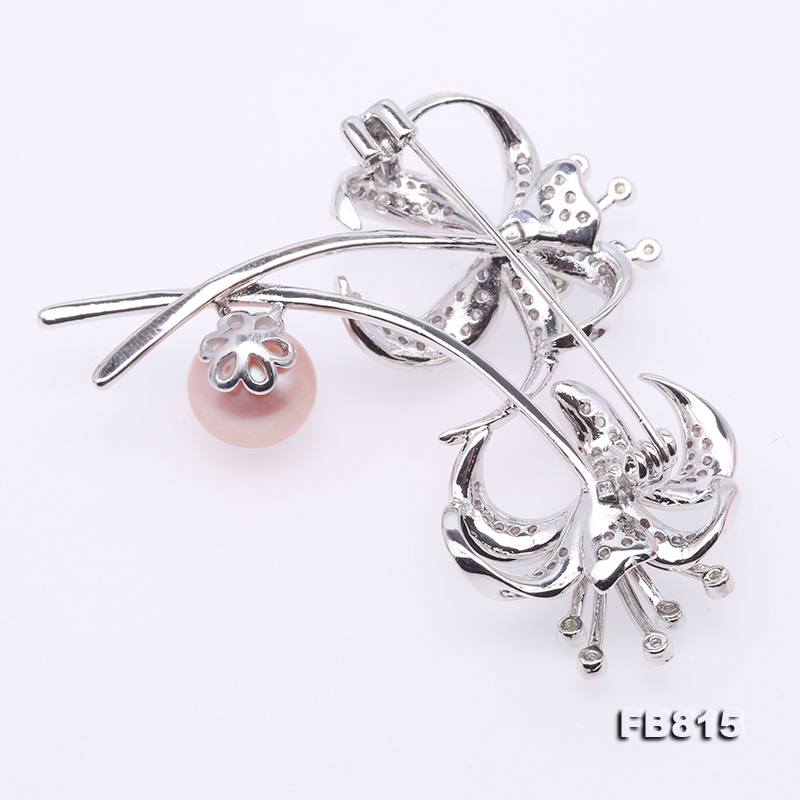 Elegant Flower-shape 10mm Freshwater Pearl Brooch  big Image 2