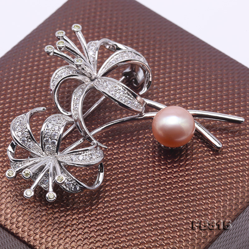 Elegant Flower-shape 10mm Freshwater Pearl Brooch  big Image 4