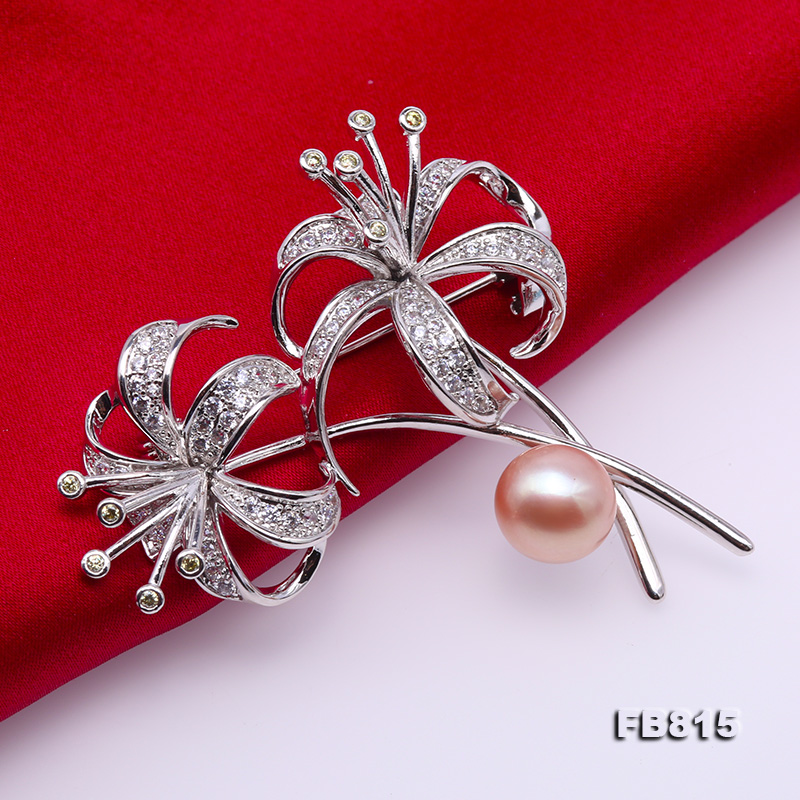Elegant Flower-shape 10mm Freshwater Pearl Brooch  big Image 5