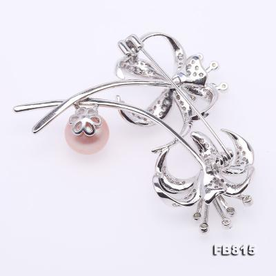 Elegant Flower-shape 10mm Freshwater Pearl Brooch  FB815 Image 2