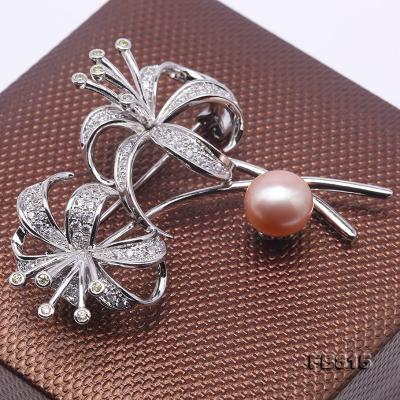 Elegant Flower-shape 10mm Freshwater Pearl Brooch  FB815 Image 4